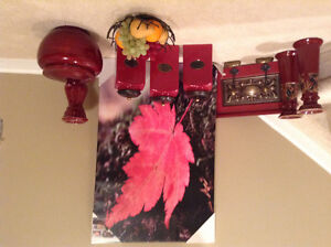 Pier 1 canister set and red decor