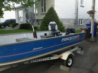 Princecraft Boat 14 Foot Long with Trailer and 15HP Motor