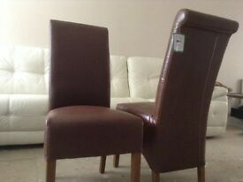 4 brown faux leather chairs new cost £109 quick sale £45 each Ono