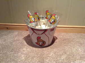 Ottawa Senators glasses (4) and matching metal ice bucket-NEW PR Kitchener / Waterloo Kitchener Area image 1