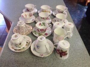 BONE CHINA CUPS AND SAUCERS AND BONE CHINA MUGS