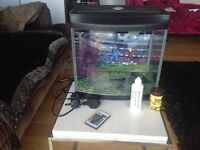 Fish tank with complete and with multi function remote led lights.