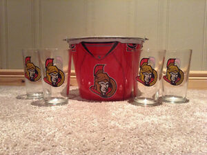 Ottawa Senators glasses (4) and matching metal ice bucket-NEW PR Kitchener / Waterloo Kitchener Area image 2