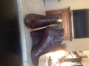 Nine West brown leather booties.