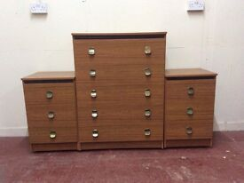 Tall chest of drawers and matching bedsides