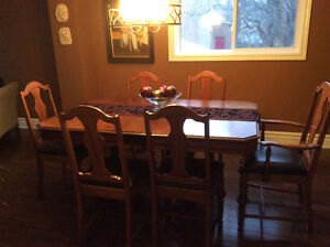 Walnut antique dining room set with buffet and hutch