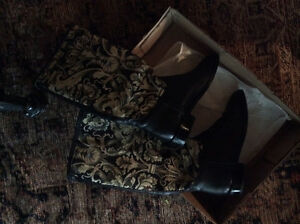 Leather and tapestry boots