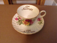60th Wedding Anniversary cup and saucer