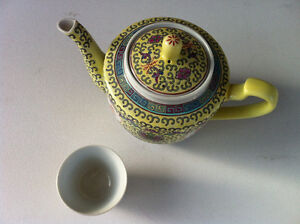 Vintage Chinese Yellow & Green Floral Porcelain Teapot With Cup Peterborough Peterborough Area image 3