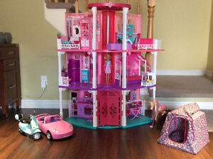Barbie 3-Storey House with elevator and Convertible Car!