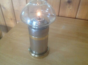CHROME / GOLD METAL FINISH CANISTER CANDLE WITH GLASS GLOBE