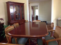 Dining Room Set Table Buffet Hutch and 6 Chairs