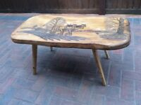 Vintage Coffee table, Old Farm scene engraved Vgc