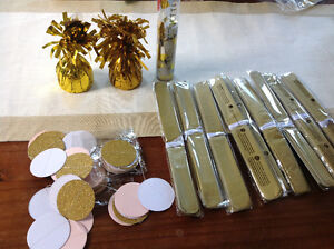 Gold and white gender neutral baby shower decor & supplies