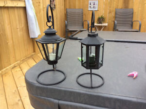 Two patio lanterns for sale