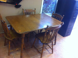 Solid birch table with four chairs