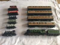 Hornby 00 Railway train flying scotsman and carriages,smokey joe and trucks.