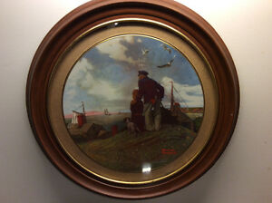 Norman Rockwell framed Plate (Looking Out to see)