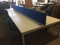 6 desk pod set with 3 dividers and 6 chairs