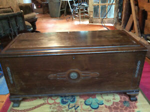 Antique solid wood cedar chest