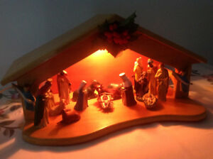 CHRISTMAS MANGER ,INCLUDING FIGURINES