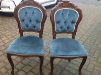 French Louis Queen Anne Velvet Bedroom Side Chair