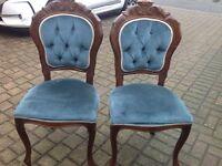 French Louis Queen Anne Velvet Bedroom Side Chair