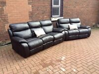 BLACK LEATHER RECLINER SUITE 3+2 IN EXCELLENT CONDITION FREE LOCAL DELIVERY!!!