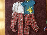 Boden kids selection of clothing: two patterned trousers, one smart shirt and one casual t-shirt