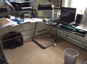 L Shaped Glass Desk and Chair