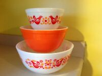Pyrex Friendship Bird 3 Bowl Set, 401 402 403 Beautiful!