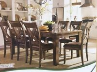 Rubber Wood Dining Table & Six Chairs, New & Boxed.