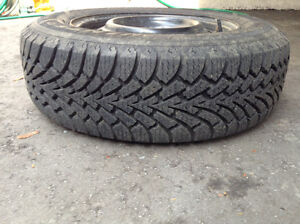 FOUR GOODYEAR SNOWTIRES ON RIMS IN EXCELLENT SHAPE