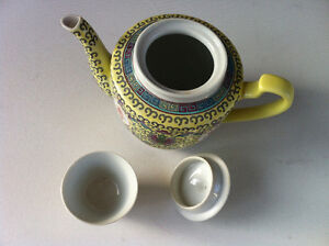 Vintage Chinese Yellow & Green Floral Porcelain Teapot With Cup Peterborough Peterborough Area image 4