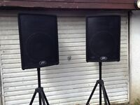PEAVEY UL15 SPEAKERS , EXCELLENT CONDITION WITH STANDS