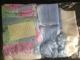 Hand knitted dungaree set