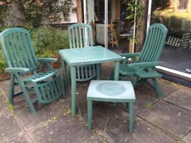 Patio set (all weather) high & low table 3 reclining chairs and Parasol