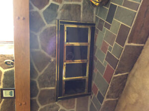 Brass fireplace glass and screen