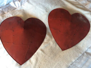 2 Red Metal Hearts to hang on your wall