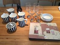 Kitchen things, 4 mugs, 4 wine glasses, 6 coasters + more