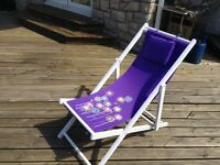 2 purple/flower detail folding deckchairs new in boxes