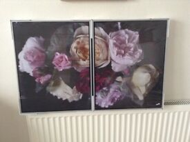 Set of two floral canvas prints