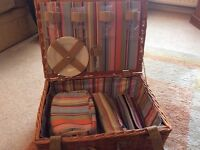 Wicker PIcnic Hamper with crockery and cultery