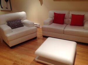 Sofa Causeuse Cuir Blanc ensemble Chaise Cuir table