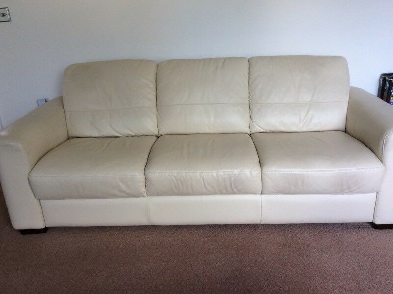 Leather two seater and three seater sofas