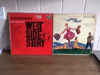 2 LP VINYL RECORDS, THE SOUND OF MUSIC AND WEST SIDE STORY, ORIGINALS
