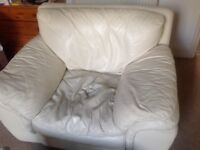 FREE - Cream leather large 2 armchairs