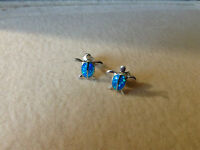 Silver turtle earrings with opals, new
