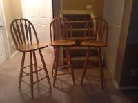 3 high backed, oak bar stools