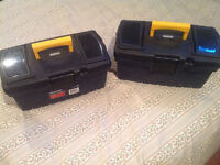 Two Mastercraft plastic tool boxes.